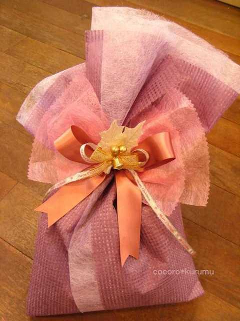 落水紙と不織布でクリスマス